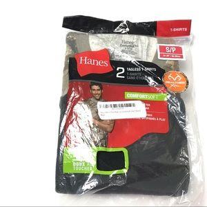 2 Hanes Tagless T-Shirt Realtree Camo Black S